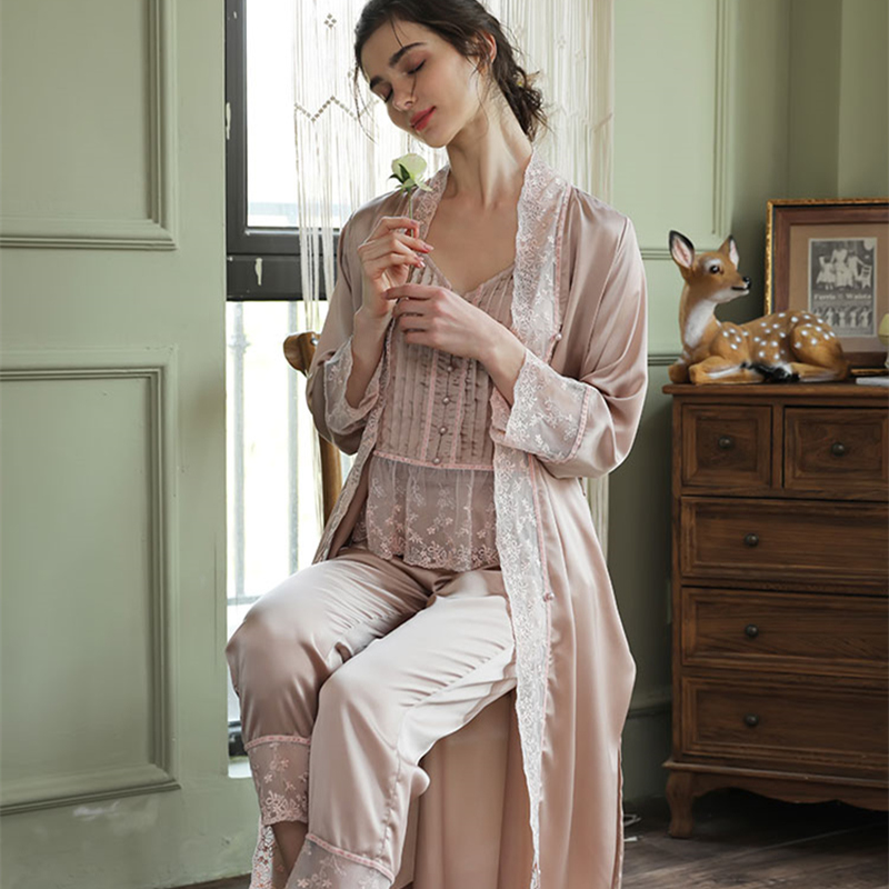 Robe Long Sleeve Robe Elegant Woman Robes Sleepwear 3 Pcs Set Pajamas Robe Suit Satin