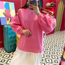 Новинка 2020 милое лоскутное платье свитер для женщин круглый