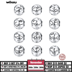 WOSTU 12 Constellation Aries Beads 925 Sterling Silver CZ Charm Fit Original DIY Bracelet Beads For Jewelry Making CQC1218