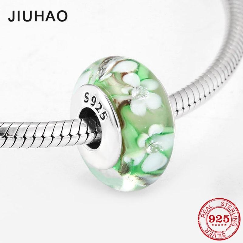 Hot sale Silver 925 Color Green European Glass white Flower Beads Fit Original European Charm Bracelet Jewelry making