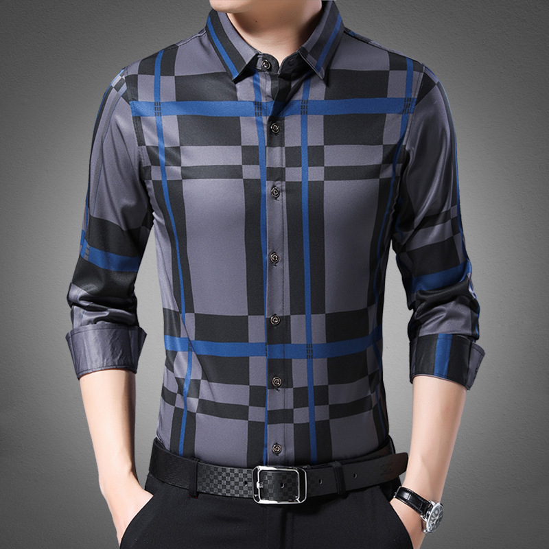 Men Fashion Long-sleeved Shirt 2019 Autumn New Style Versatile Plaid Middle-aged Men's No Ironing Thin Shirt