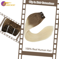 Moresoo Clip in Hair Extension Full Head Ombre Color 7PCS 100g 16 24inch Machine Remy 100% Real Human Hair