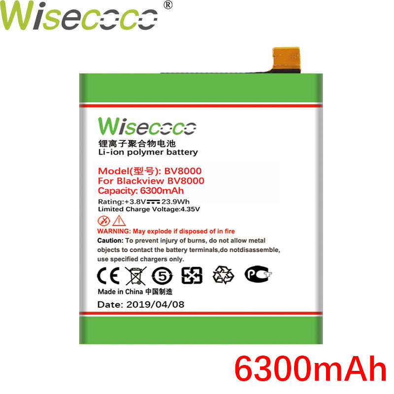 Wisecoco BV8000 6300mAh New Production Battery For Blackview BV8000 BV 8000 Pro V636468P High quality Battery Tracking Number in Mobile Phone Batteries from Cellphones Telecommunications
