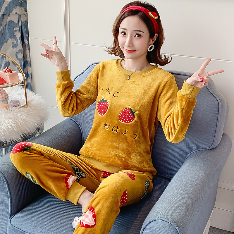 Autumn Winter Flannel Cartoon Cute Pajamas Long Sleeve Pyjamas Women Pijama Mujer Loungewear Home Clothes Sleep Set Nightwear 22