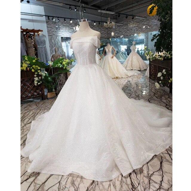 BGW HT5622 סטרפלס חתונת שמלות Boho כבוי כתף מחוך לבן מבריק שמלות כלה עם רכבת אופנה חדשה Vestidos דה Novia