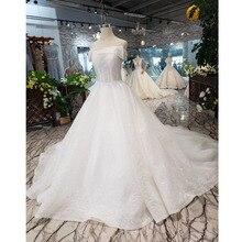 BGW HT5622 suknie ślubne bez ramiączek Boho Off Shoulder gorset białe błyszczące suknie ślubne z pociągiem nowa moda Vestidos De Novia