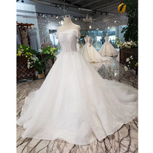 BGW HT5622 فساتين زفاف بدون حمالات بوهو بدون أكتاف مشد أبيض لامع فساتين زفاف مع قطار موضة جديدة Vestidos De Novia