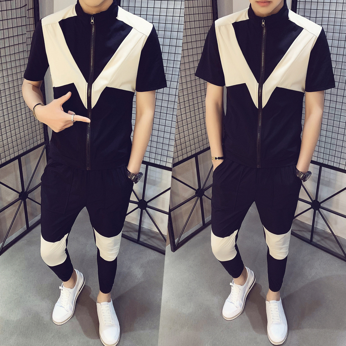 2020 Summer New Style Men'S Wear Fashion Brand Short Sleeve T-shirt Casual Two-Piece Set