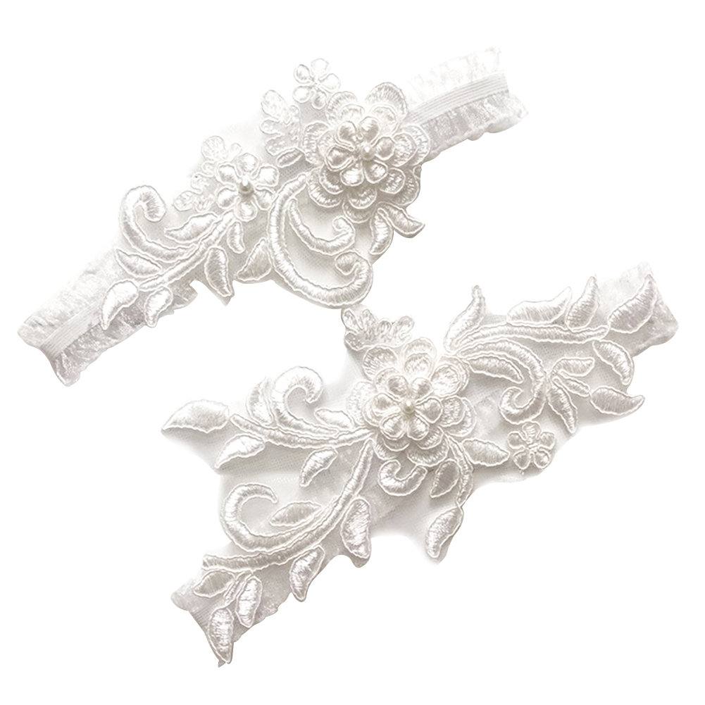 Women Western Style Wedding Garters For Bride Sequins Lace White Embroidery Bridal Dress Accessories Garter Legs Circle