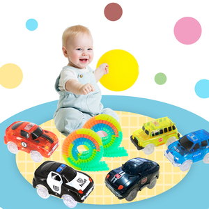 Magical Track Cars LED Light Electronics Car Tracks Toy Cars Parts Car Rail Race Track Children's Toys For Boys Birthday Gifts(China)