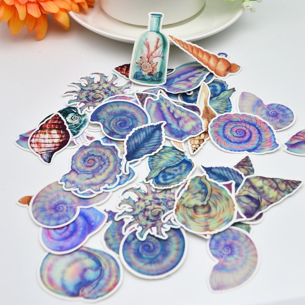 46pcs Kawaii Sea Shell Sticker Decoracion Cute Diary Seashell Stickers Journal Scrapbooking Stationery Adesivos Supplies
