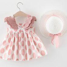 Dziewczynek Dresses2020 kapelusz na lato 2 częściowy zestaw ubrania dla dzieci dziecko bez rękawów urodziny księżniczka sukienka z nadrukiem