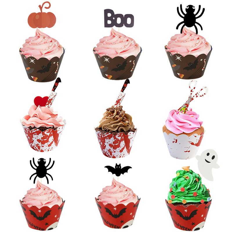 24pcs Halloween Decor <font><b>Bat</b></font> Ghost Witch Bloody <font><b>Knife</b></font> Terror Cake Topper Cupcake Wrappers Happy Halloween Party Cakes Deco Supplies image