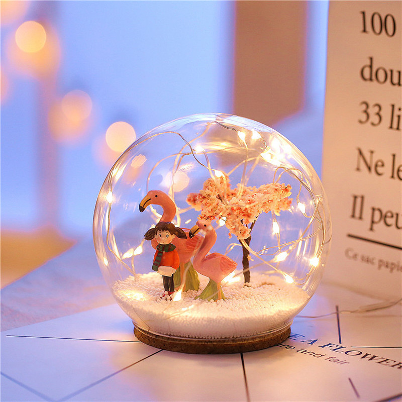 Christmas Crystal Glass Ball Led Light Xmas Tree Snowflake Deer Birthday Wedding Office Table Decor Lamp Gift Snow Globe Glass
