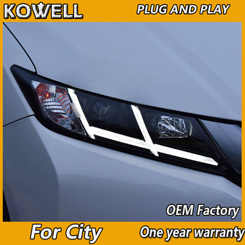 KOWELL  Car Styling For Honda City 2014-2016 LED Headlight for City Head Lamp LED Daytime Running Light LED DRL Bi-Xenon HID