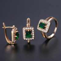 Davieslee Square Green Stone Stud Earring Ring For Women 585 Rose Gold Filled Paved Clear Cubic Zirconia CZ Jewelry Sets DGE141
