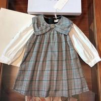 Girl Dress Brooch Princess Toddler Baby Girl Christmas Dress Winter Fall Party Kid Dress Girl Plaid Dress Fashion Brand Dress