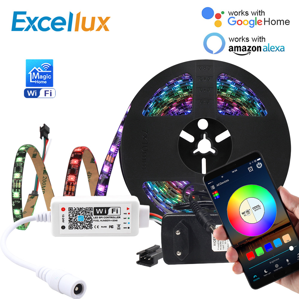 1set WS 2811 5050 RGB Led Strip Magic Home WIFI App Control Pixels 30/60LEDs/M Full Color Programmable Individual Addressable