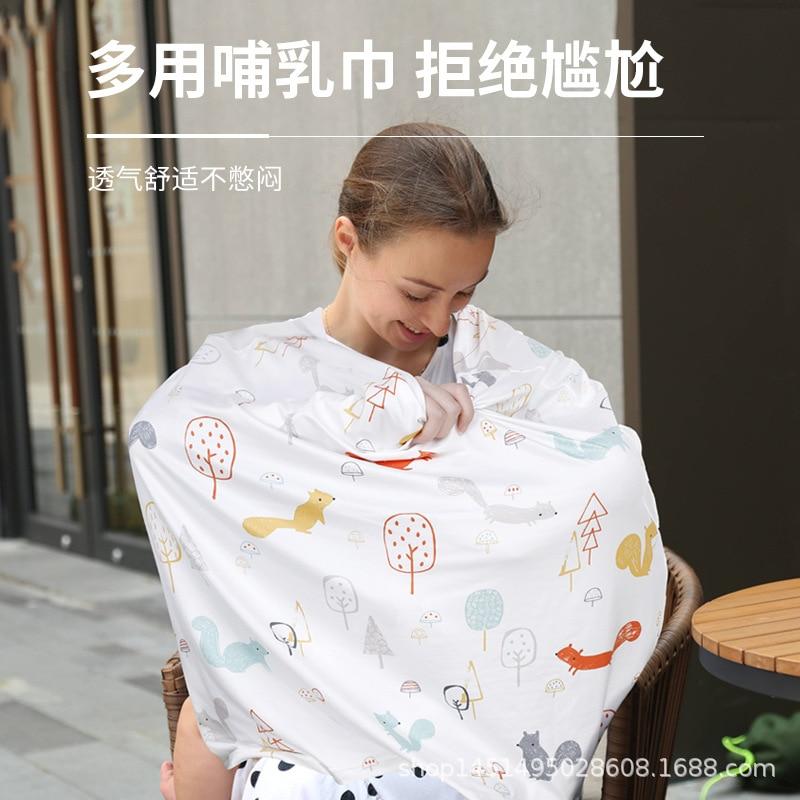 product printed baby breastfeeding towel stroller cover mother's cotton breastfeeding towel breastfeeding towel anti-glare gown