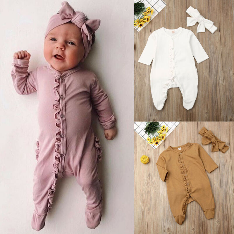 CANIS Autumn 2PCS Newborn Kids Infant Baby Boy Girl Long Sleeve Cotton Button Romper Jumpsuit Headband Clothes Outfit