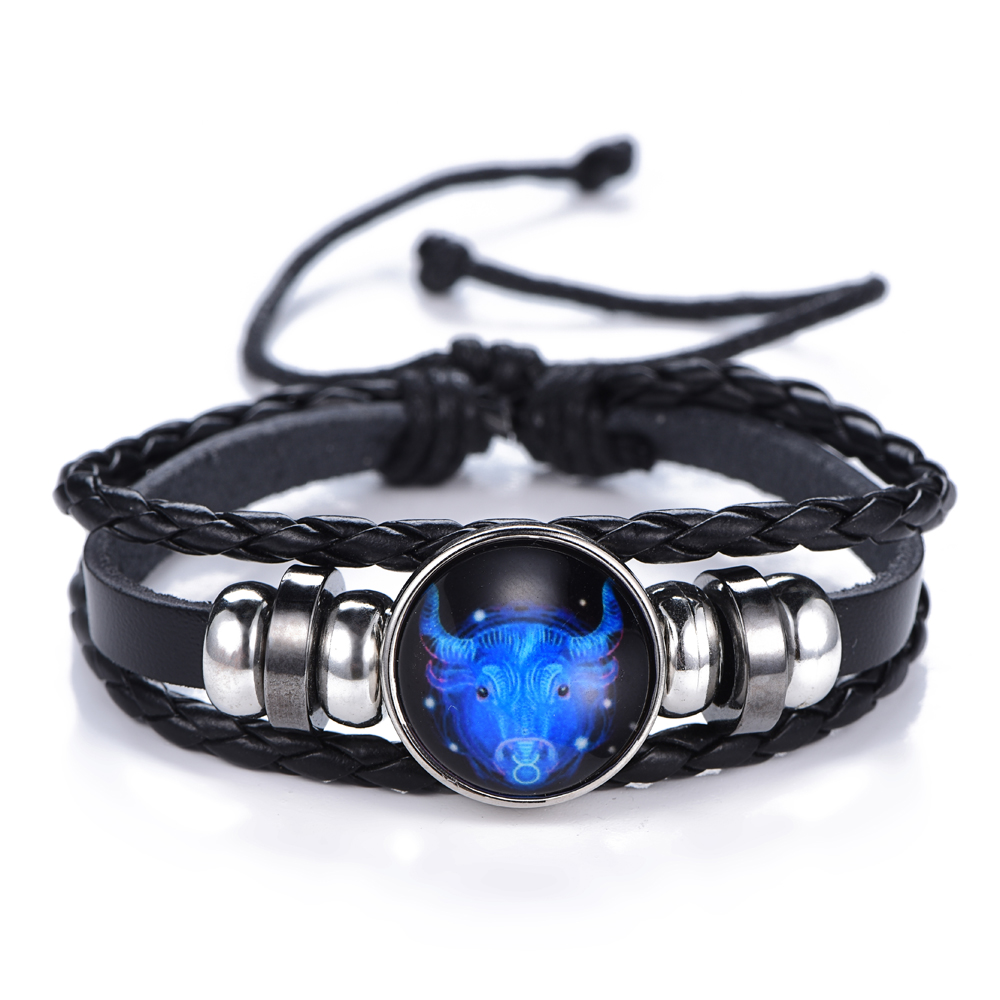 12 Constellation Luminous Bracelet men Leather Bracelet Charms Bracelets Aries Pisces Aquarius Leo Scorpio Libra Gemini jewelry 1