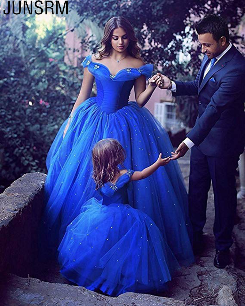 Princess Style Cinderella   Girls   Pageant   Dresses   Royal Blue Ball Gown Diamonds Off Shoulder Puffy   Flower     Girl     Dress   Custom Made