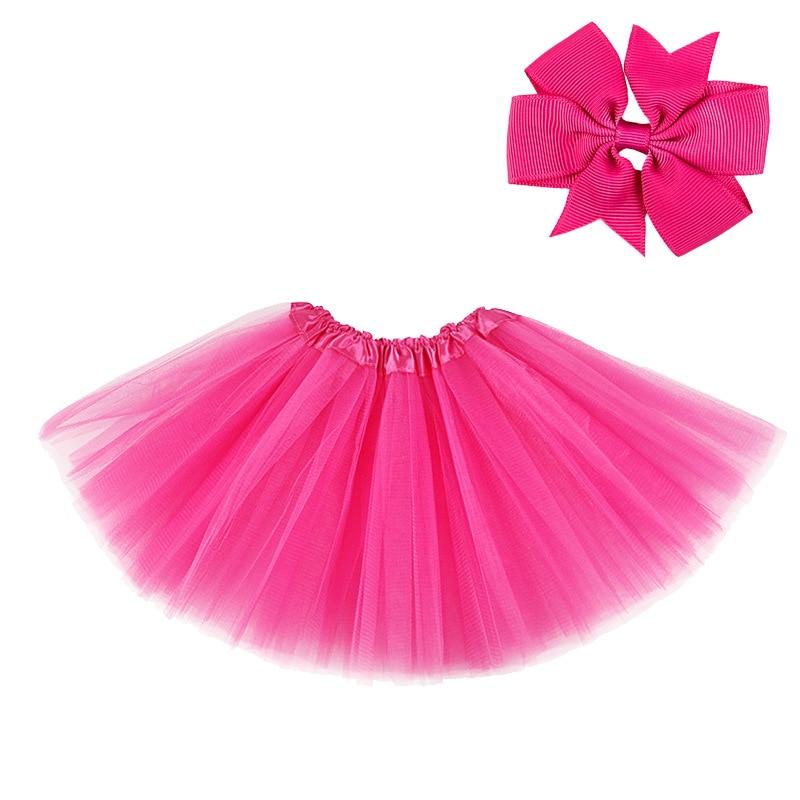 0-8Y Pink Tutu Skirt with Hear-clip for Kids Princess Girls Petticoats Birthday Party Dance Wear Kawaii Skirts 5