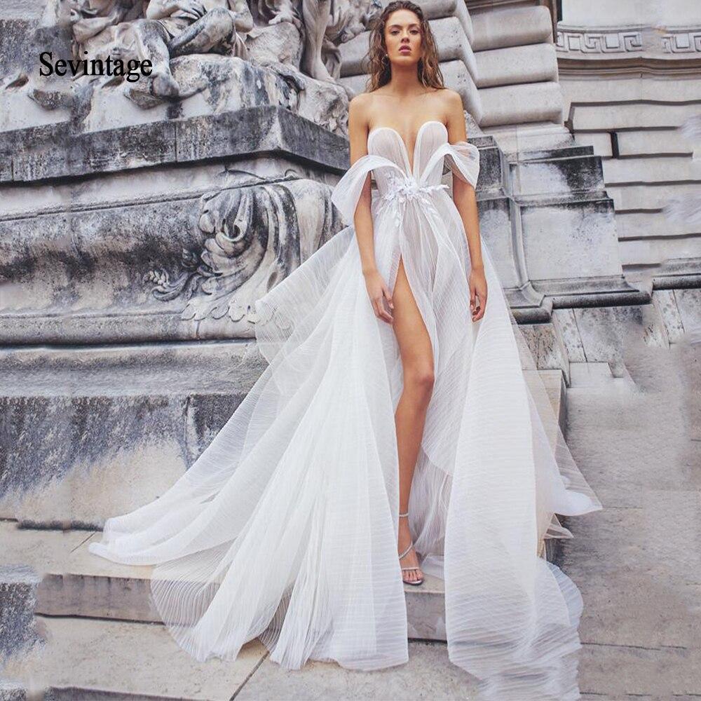 Sevintage  Off The Shoulder Sweetheart 2020 Wedding Dresses Boho Lace Appliqued Slit Side Beach Bridal Gown Abito Da Sposa