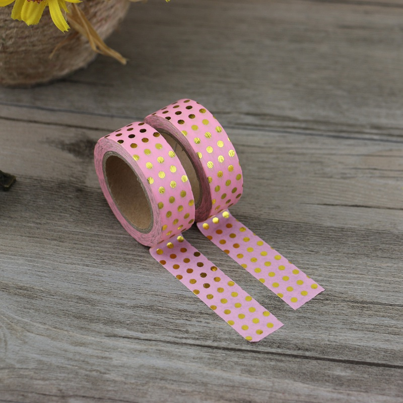 10M Decorative Gold Foil Tape with Pink Dots  5
