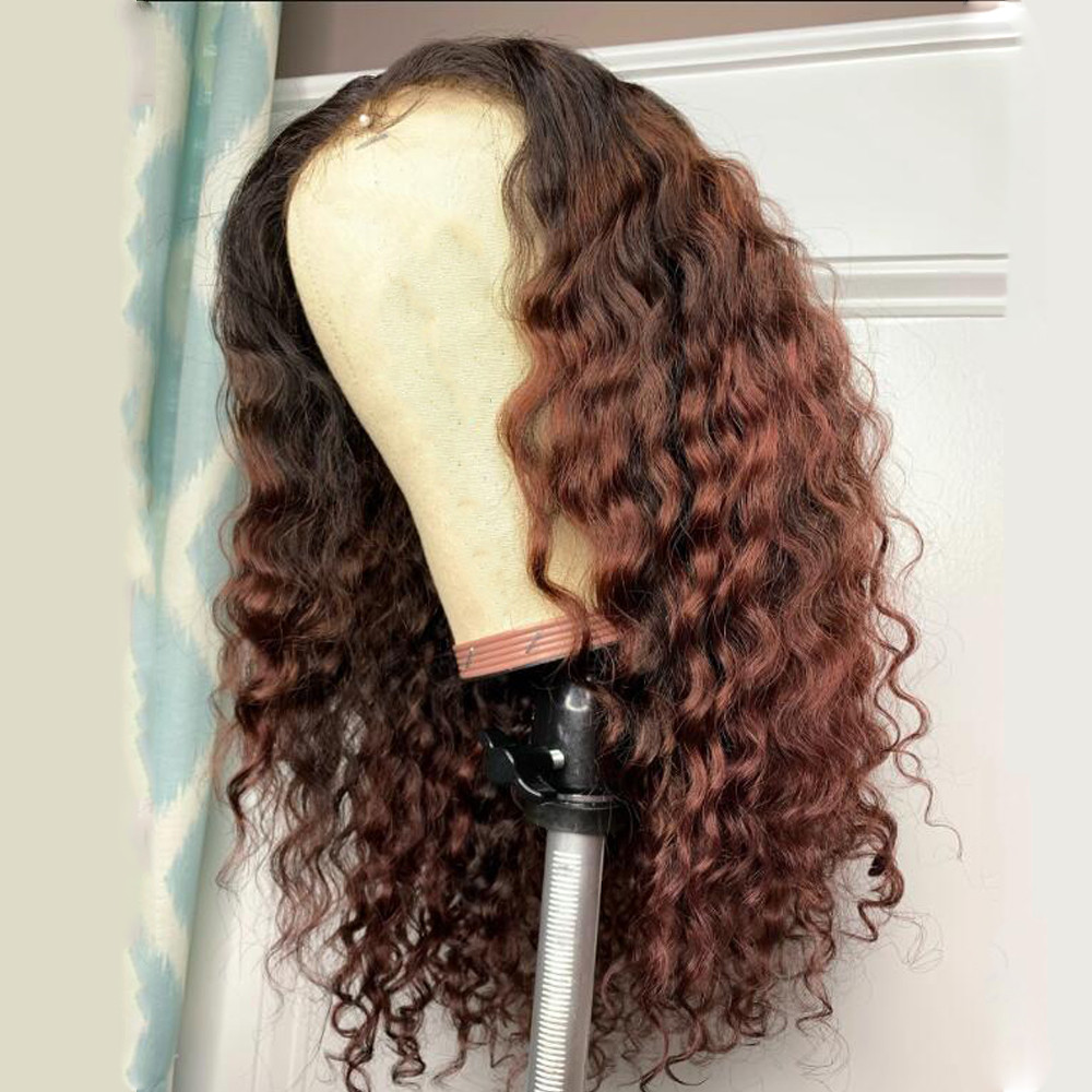Ombre Brown Water Wave Human Hair Full Lace Wigs For Women Brazilian Remy Bleached Konts Glueless Wigs With Baby Hair