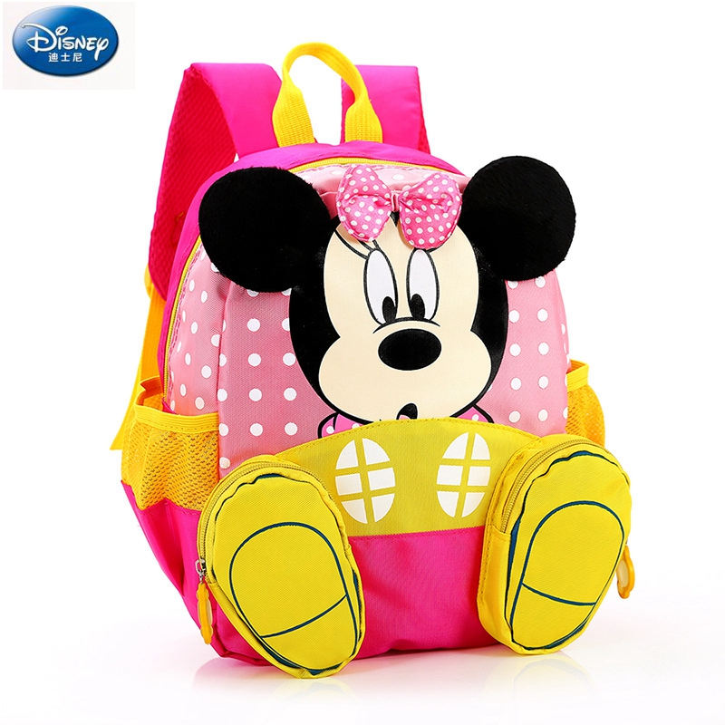 Disney Children's Backpack Baby Kindergarten Cute Animal Cartoon Minnie Kids Mickey Mouse Bag For School