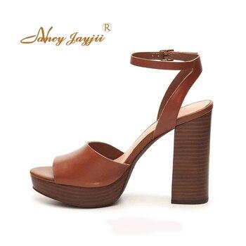 Platform Brown Block High Heels  Sandals Ankle Strap Pumps Casual Dress Party Comfort Women Shoes Size 14 15 16 NANCYJAYJII
