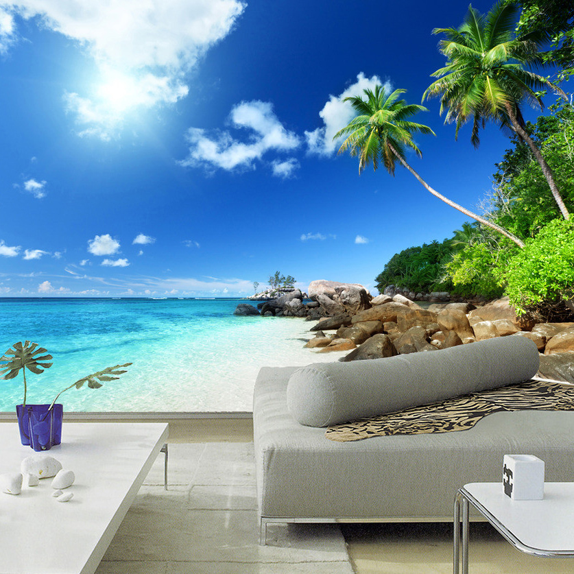 Custom 3D Poster Photo Wallpaper Blue Sky White Clouds Beach Landscape Living Room Bedroom TV Background Wall Mural Home Decor