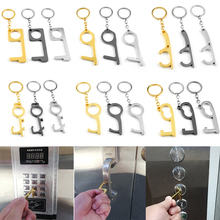 New No Touch Non Contact Door Opener Contact-free Tool keychains Elevator Button Door Handle Avoid Touching Keyrings For Friends elevator door machine contact device