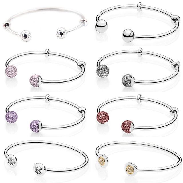 NEW 100% 925 Sterling Silver Double-headed Classic Crystal Bangle Clear CZ Charm Bead Fit DIY Bracelet The Factory Wholesale