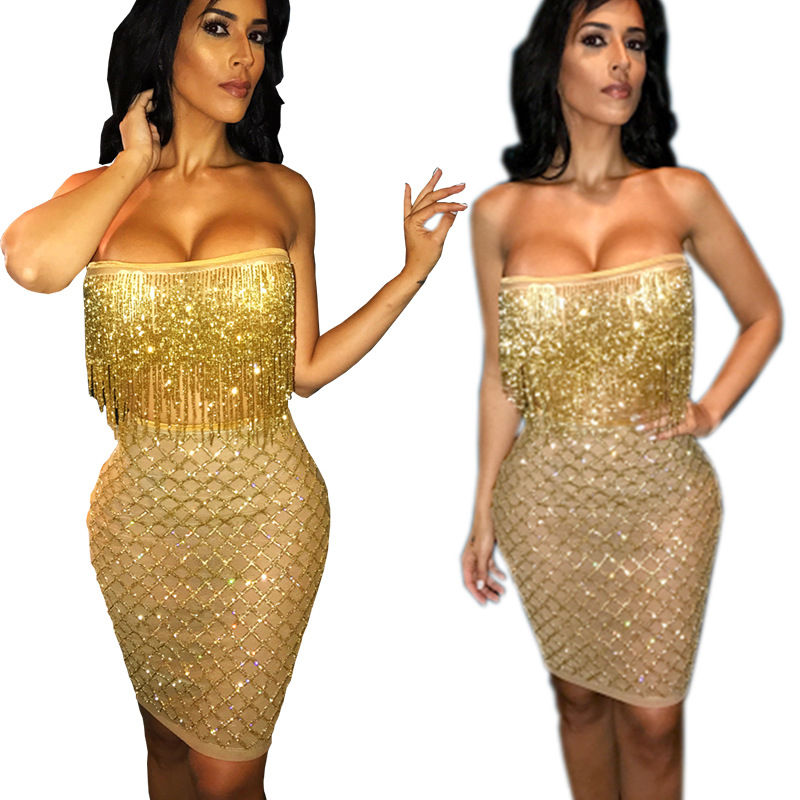 Cy8035 Europe And America New Style WOMEN'S Dress Tube Beads Tassels Sequin Two-Piece Dress Sexy Skirt