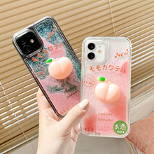 Pêssego bonito escudo glitter tpu + casos de telefone para iphone 12 11pro max xs 6 7 8 plus xr x se 2020 dinâmico líquido quicksand capa