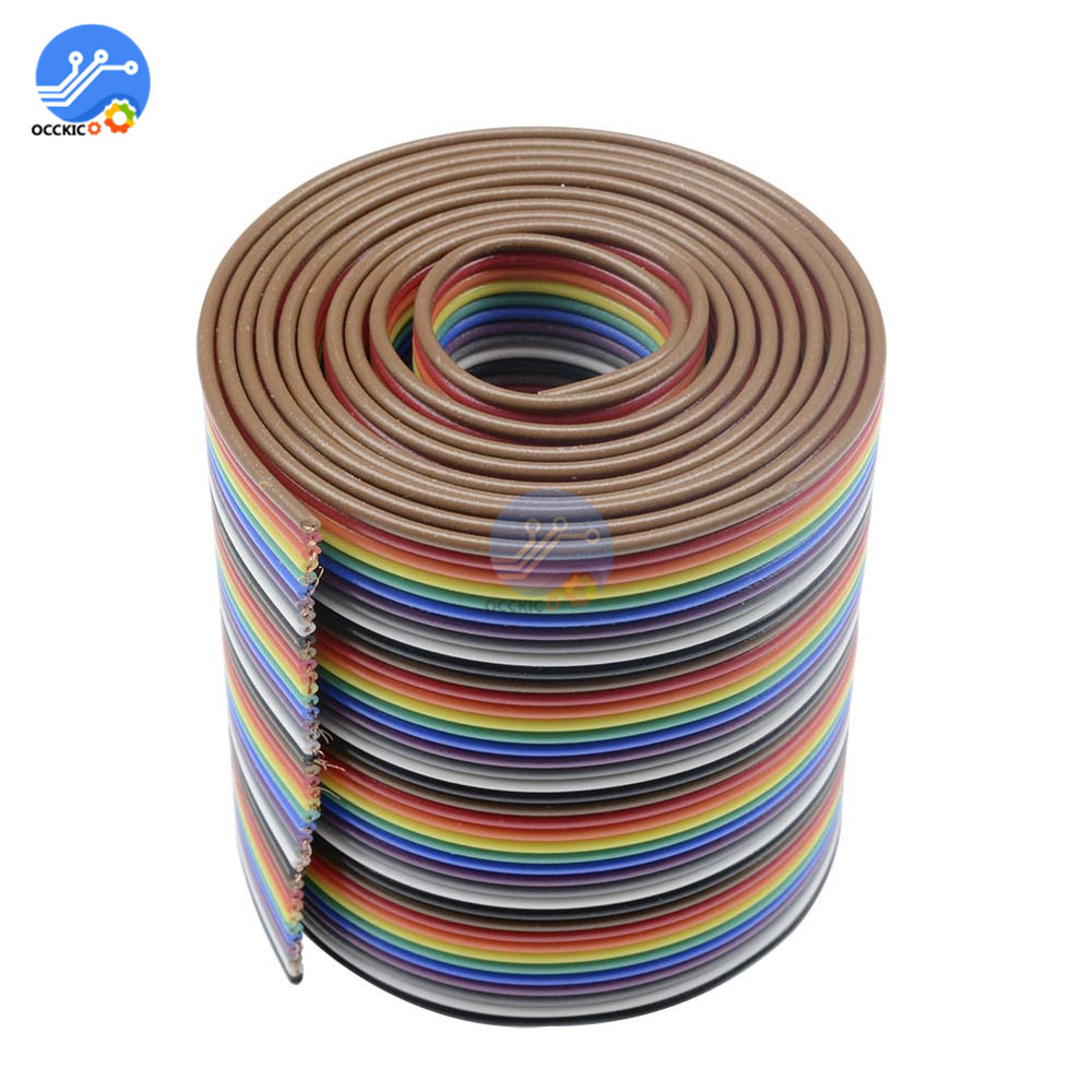 1M 3.3ft Flat Cable 40 Pin Rainbow Ribbon IDC Cable Wire Rainbow Cable New Arrival