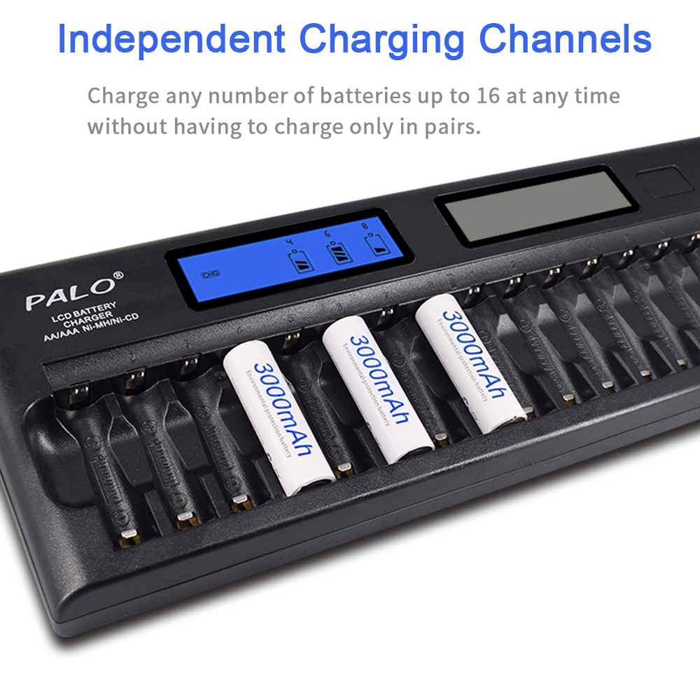 cheapest PALO 8 12 14 16 24 slots Smart Charger LCD display Intelligent Battery Charger for 1 2V AA AAA Ni-MH NiCd rechargeable battery