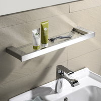 Bathroom Glass Shower Shelf Rack Holder Square Tier Bathroom Mirror Front Rack Wall Mount Shelves