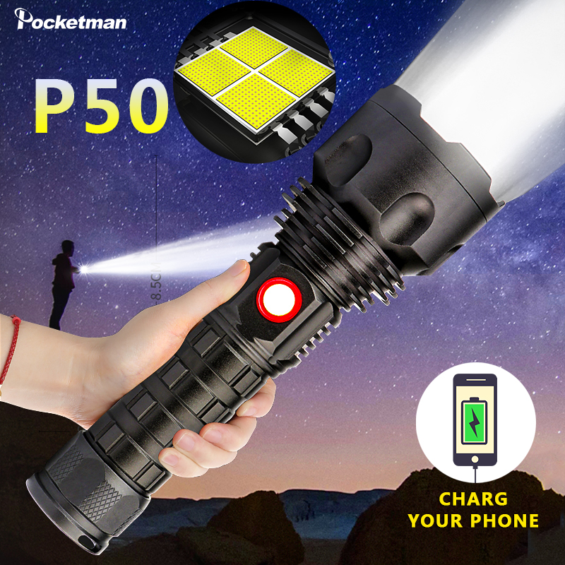 Super Powerful <font><b>LED</b></font> Flashlight XP50 Lamp waterproof Flash <font><b>light</b></font> USB rechargeable Power Bank <font><b>Torch</b></font> Lantern Spotlights for Camping image