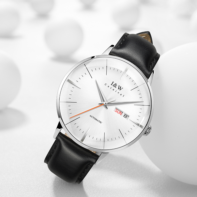 Original Switzerland I&W 2020 New Ultrathin Automatic Watch Men Sapphire Mechanical Watch Double Calendar Leather Strap Watches