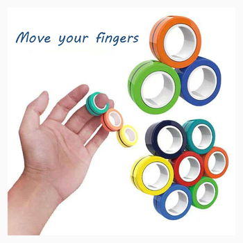 3PCS/set Magnetic Rings Anti-stress Stress Relief Ring For Autism ADHD Anxiety Relief Focus Decompression Bracelet Ring spinner led light finger spinner aluminum edc hand spinner for autism and adhd anxiety stress relief focus toys gift m2