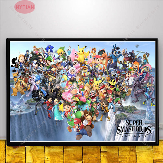 nt774 poster print collage super mario smash bros ultimate character oil painting wall art canvas picture living home room decor