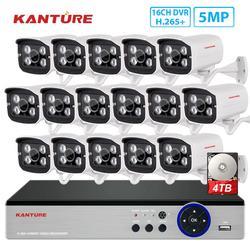 Система видеонаблюдения KANTURE h.265 + 16 каналов 5 МП, dvr, 5 МП, комплект камер безопасности с низким освещением IP66, водонепроницаемый комплект для ...