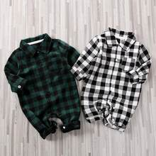 New Spring Autumn Newborn 0-12M Cotton Casual Clothes Classic Plaid Polo Collar Jumpsuit for Baby Boy Baby Girl Crawling(China)