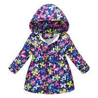 Invierno grueso a prueba de viento cálido niño abrigo largo estampado forro polar niños prendas de vestir exteriores bebé niñas chaquetas durante 3-12 años viejo
