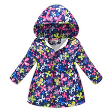 купить Winter Thicken Windproof Warm Child Long Coat Print Fleece Liner Children Outerwear Baby Girls Jackets For 3-12 Years Old онлайн