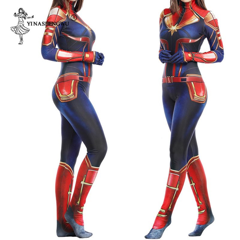 Wonder Woman 3D Women Girls Movie Version Captain Marvel Carol Danvers Cosplay Costume Zentai Superhero Bodysuit Suit Jumpsuits