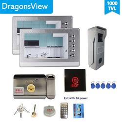 Dragonsview 7 Cal wideodomofon z zamek elektryczny przycisk wyjścia wideodomofon System kamer dzwonkowych 2 monitory odblokuj rozmowę